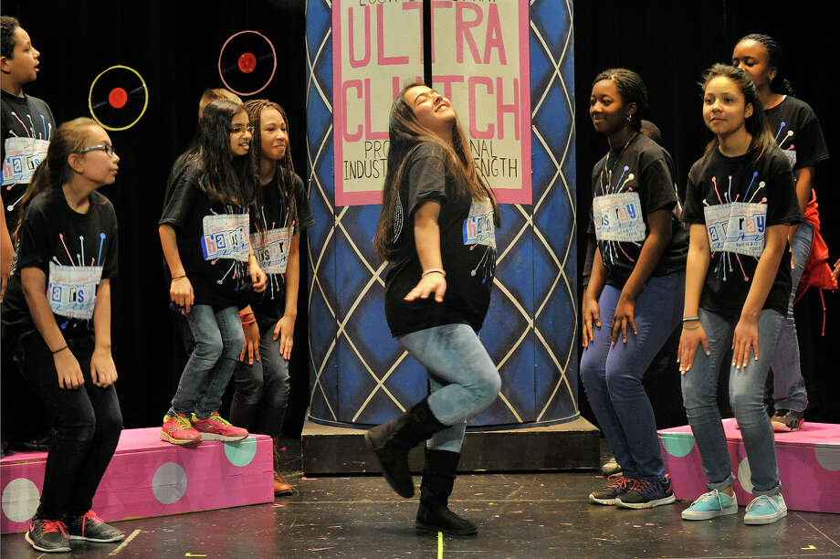 """Gabrielle Hernandez plays the part of Edna Turnblad during a rehearsal of the musical """"Hairspray Jr"""" at Rogers International School in Stamford, Conn., on Wednesday, April 15, 2015. The sold out performances are this Thursday and Friday at 6:30 p.m. at the school. Photo: Jason Rearick / Stamford Advocate"""