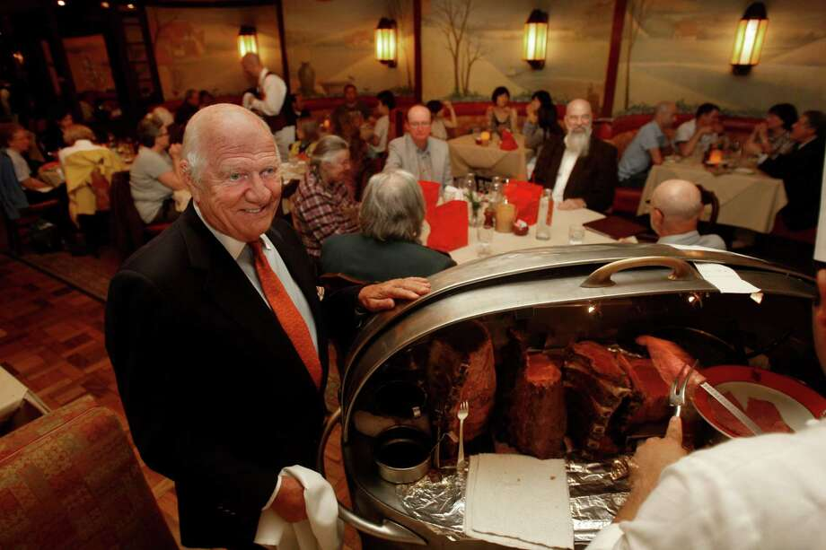 Proprietor Joe Betz and the silver beef cart at House of Prime Rib. Photo: Liz Hafalia / The Chronicle / SFC