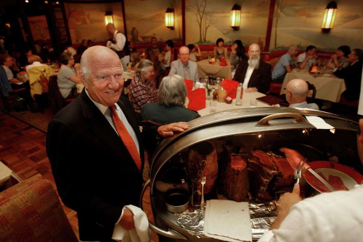 Proprietor Joe Betz and the silver beef cart at House of Prime Rib.