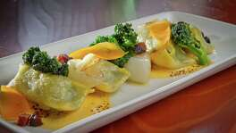 Broccoli agnolotti at Maven, where every dish is matched to a drink.