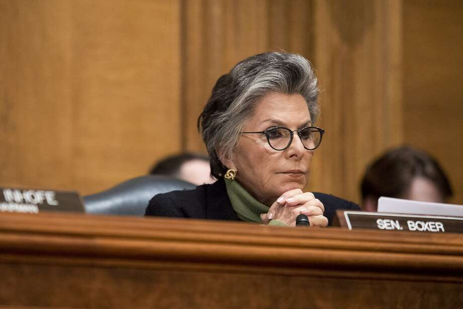 Sen. Barbara Boxer (D-Calif.) listens during a Senate Committee on Environment and Public Works hearing in Washington, March 18, 2015. (Drew Angerer/The New York Times) Photo: Drew Angerer, New York Times