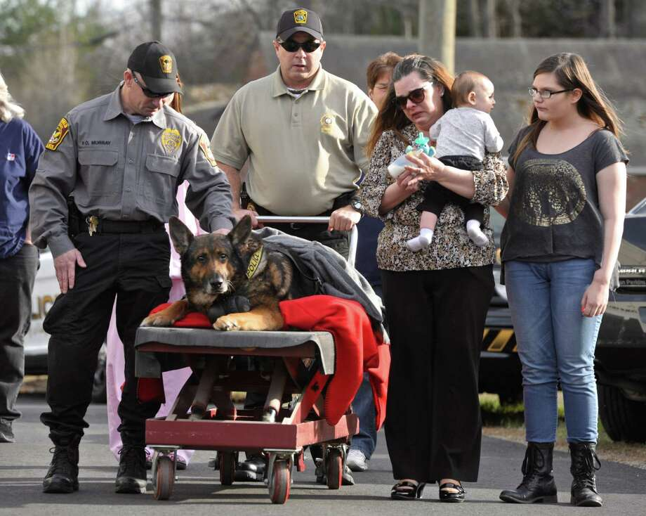 Ridgefield Police Officer Shawn Murray, left, and his family escort Zeus, Murray's partner, a german shepherd who worked for the Ridgefield Police Department who was honored with a final ride before being euthanized because of a severe degenerative hip disorder in to the Ridgefield Veterinary Hospital, on Wednesday afternoon, April 15, 2015, in Ridgefield, Conn. Photo: H John Voorhees III / The News-Times