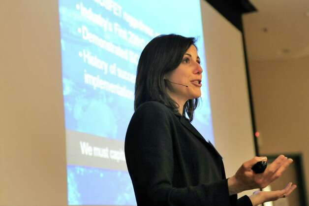 Danielle Merfeld, global technology director of Electrical Technologies and Systems at General Electric, speaks during the Northeast Semi Supply Conference on Wednesday, April 15, 2015, at SUNY Polytechnic Institute in Albany, N.Y. (Cindy Schultz / Times Union) Photo: Cindy Schultz / 00031442A