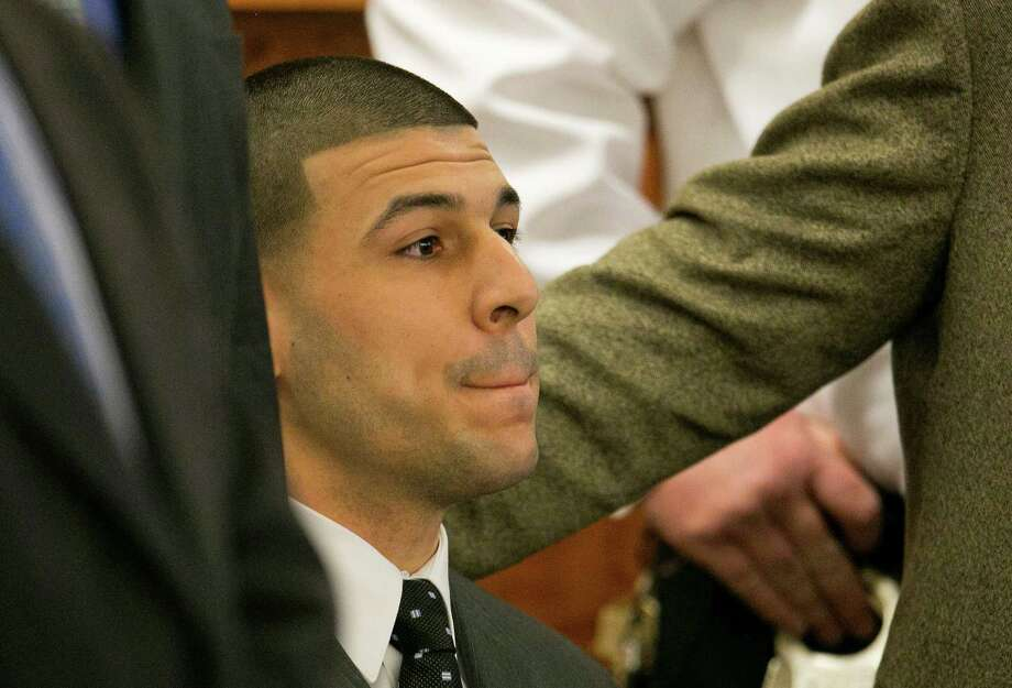 Former New England Patriots football player Aaron Hernandez faces life without parole. Photo: Dominick Reuter, POOL / Pool Reuters