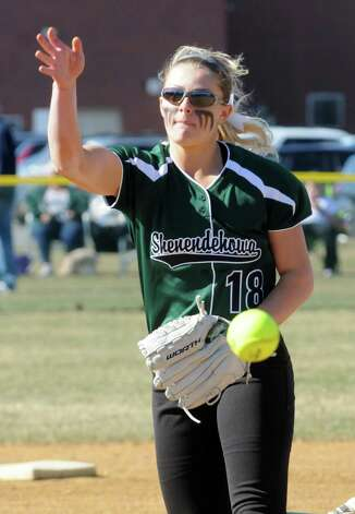 Shen's Abby Shields deals a pitch during their girl's high school softball game against Bethlehem on Wednesday April 15, 2015 in Clifton Park, N.Y. (Michael P. Farrell/Times Union) Photo: Michael P. Farrell / 00031408A