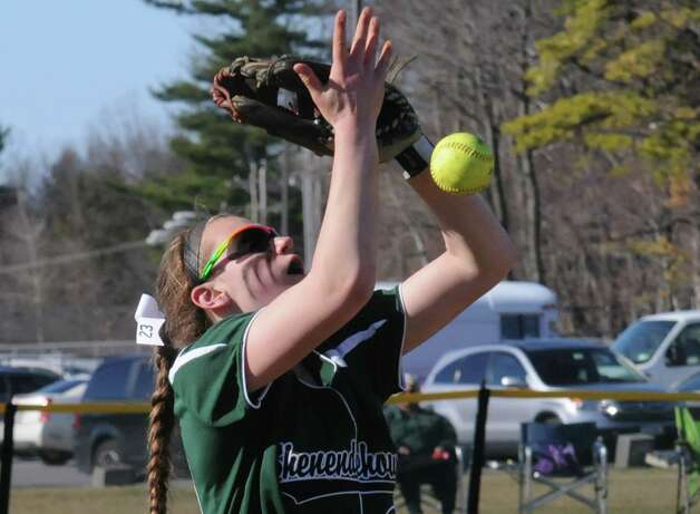 Shen's Nicole McCarvill loses a pop fly to the wind during their girl's high school softball game against Bethlehem on Wednesday April 15, 2015 in Clifton Park, N.Y. (Michael P. Farrell/Times Union) Photo: Michael P. Farrell / 00031408A