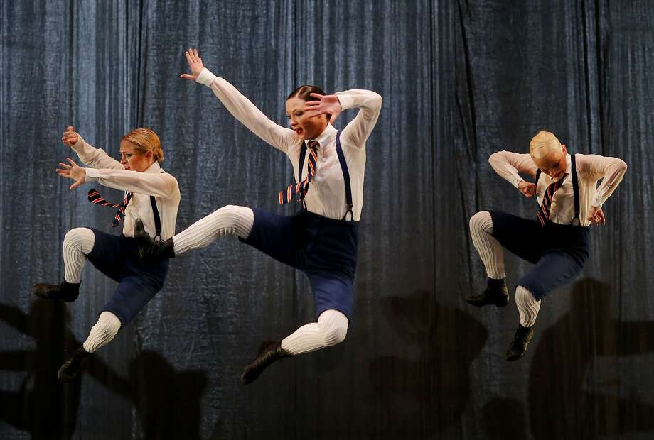 """Dancers pose in the air during a scene from """"The Word"""" Wednesday April 15, 2015. The famous Paul Taylor Dance Company performs their """"The Word"""" composition at the Yerba Buena Center for the Arts Theatre in San Francisco, Calif. Photo: Brant Ward, The Chronicle"""
