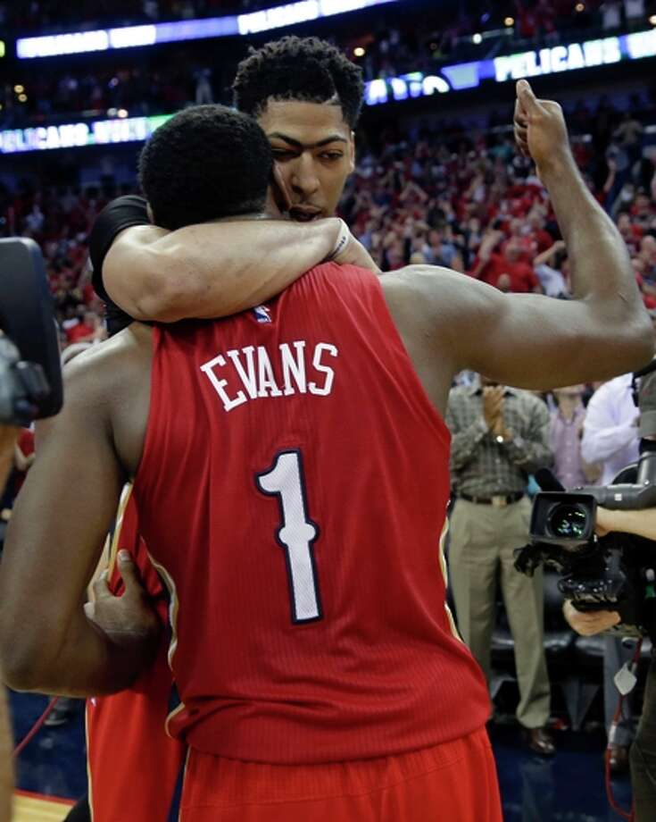The Pelicans' Anthony Davis celebrates his first playoff berth with Tyreke Evans. Photo: Gerald Herbert / Associated Press / AP