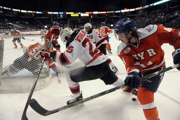 The Albany Devils vs. Syracuse Crunch at the Times Union Center on Wednesday April 15, 2015 in Albany, N.Y. (Michael P. Farrell/Times Union) Photo: Michael P. Farrell / 00030124S