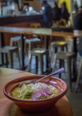 Pozole verde with chicken and bacon at El Pipila at the Market Hall on Market Street in S.F.