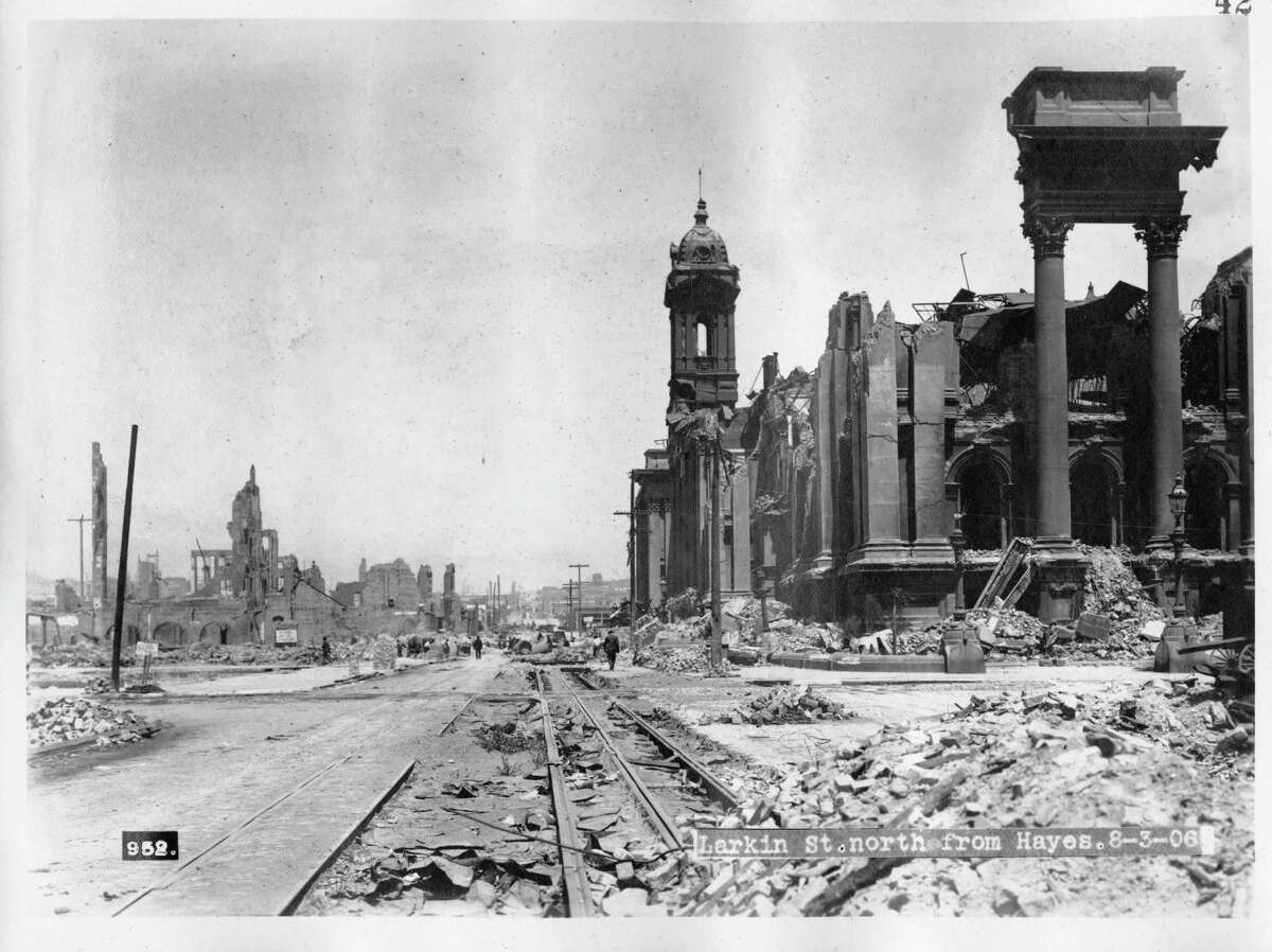 The ruins of City Hall on Larkin Street at Hayes Street | August 3, 1906