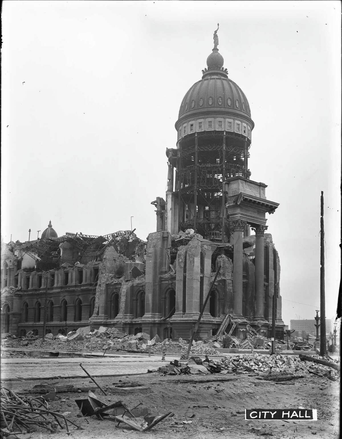 City Hall Dome and Goddess of Progress Statue Standing Above the Ruins | May 7, 1906