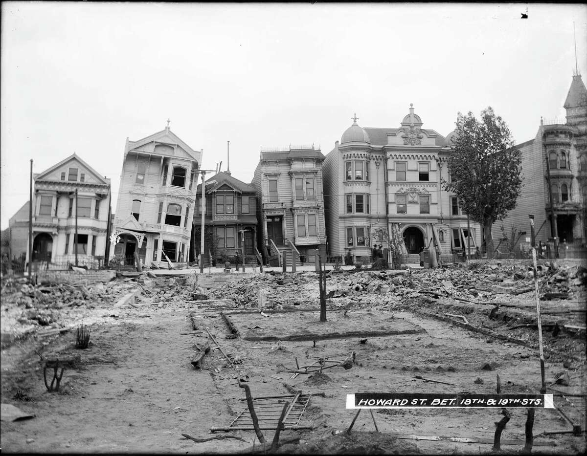 South Van Ness Avenue with Damaged Houses and Rubble Between 18th and 19th Street | May 9, 1906
