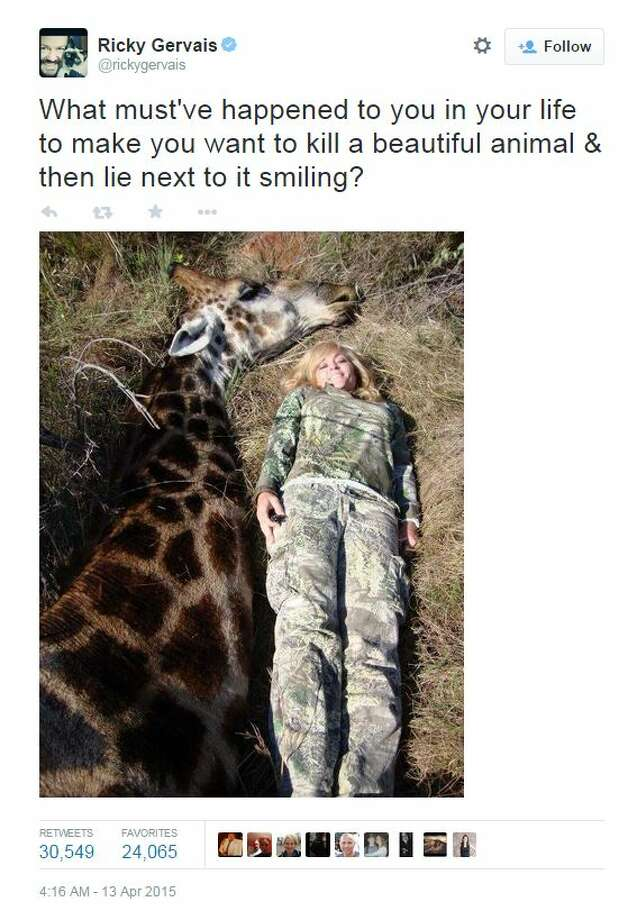 Rebecca Francis is seen here with a giraffe she recently killed in Africa. She said the animal was close to dying and she honored the animal by killing him.  But she's receiving a lot of flak for the photos and killing. Photo: White,  Tyler L, Twitter/Facebook