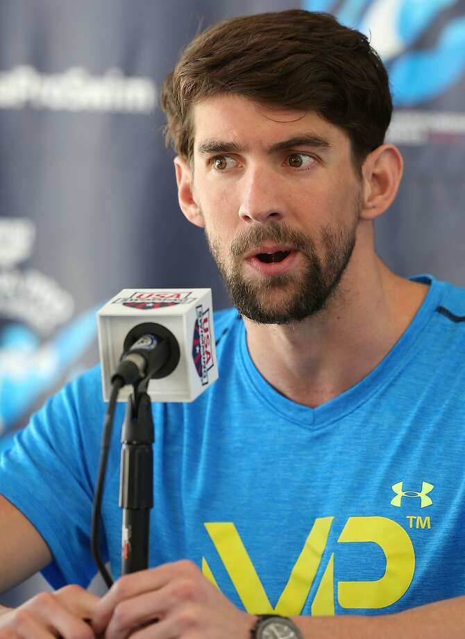MESA, AZ - APRIL 15: Michael Phelps speaks at a press conference before day one of the Arena Pro Swim Series at the Skyline Aquatic Center on April 15, 2015 in Mesa, Arizona.  (Photo by Chris Coduto/Getty Images) Photo: Chris Coduto, Getty Images