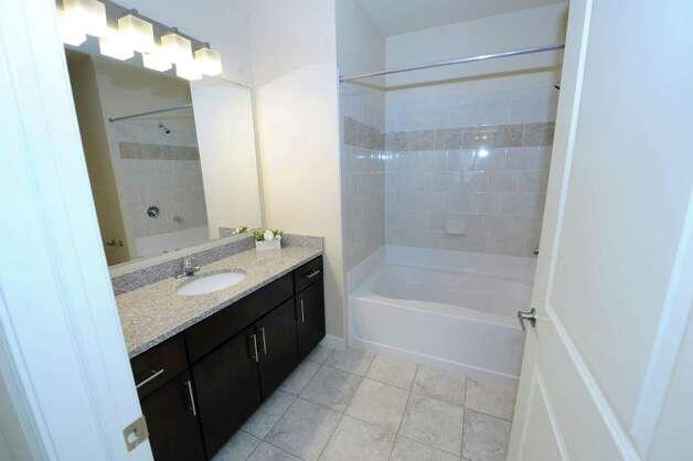 Guest second bathroom in the model apartment of The Alexander at Patroon Creek on Friday, April 10, 2015 in Albany, N.Y. (Lori Van Buren / Times Union) Photo: Lori Van Buren / 00031373A
