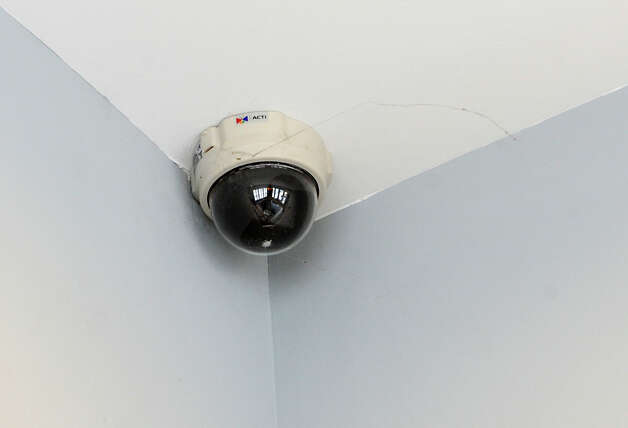 A security camera is seen on the ceiling near the front entrance to The Alexander at Patroon Creek on Friday, April 10, 2015 in Albany, N.Y. (Lori Van Buren / Times Union) Photo: Lori Van Buren / 00031373A