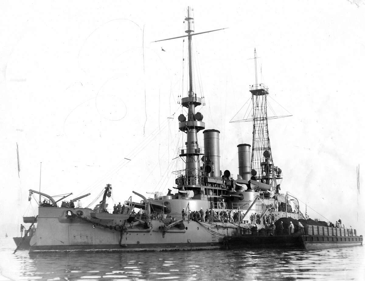 U.S.S. Oregon built at the Union Iron Works (now Bethlehem Steel Co) in San Francisco and delivered July 1896, Famous battleship of the Spanish-American War Handout