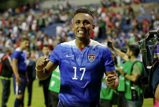 United States' Juan Agudelo (17) reacts after the international friendly soccer match against Mexico at the Alamodome on Wednesday, Apr. 15, 2015. The U.S. team defeated Mexico, 2-0. Agudelo scored the second goal. (Kin Man Hui/San Antonio Express-News) Photo: Kin Man Hui, Staff / San Antonio Express-News / ©2015 San Antonio Express-News