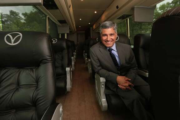 President of Vonlane Alex Danza, inside one of his companies luxury buses, Tuesday, April 14, 2015, in Houston, Texas. Vonlane offers what they call a first class motor coach experience. Vonlane offers an on board attendant and galley, free Wi-Fi, complimentary noise canceling headsets, satellite radio and television. Vonlane will start service Houston to Dallas Monday April 20, 2015.