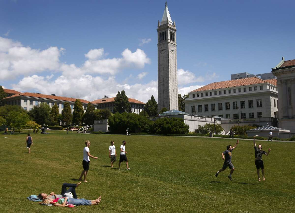 Students enjoy a sunny day at the Memorial Glade on the Cal campus in Berkeley, Calif., on Friday, May 28, 2010. Enrollment in the summer session at UC Berkeley has set new records this year.