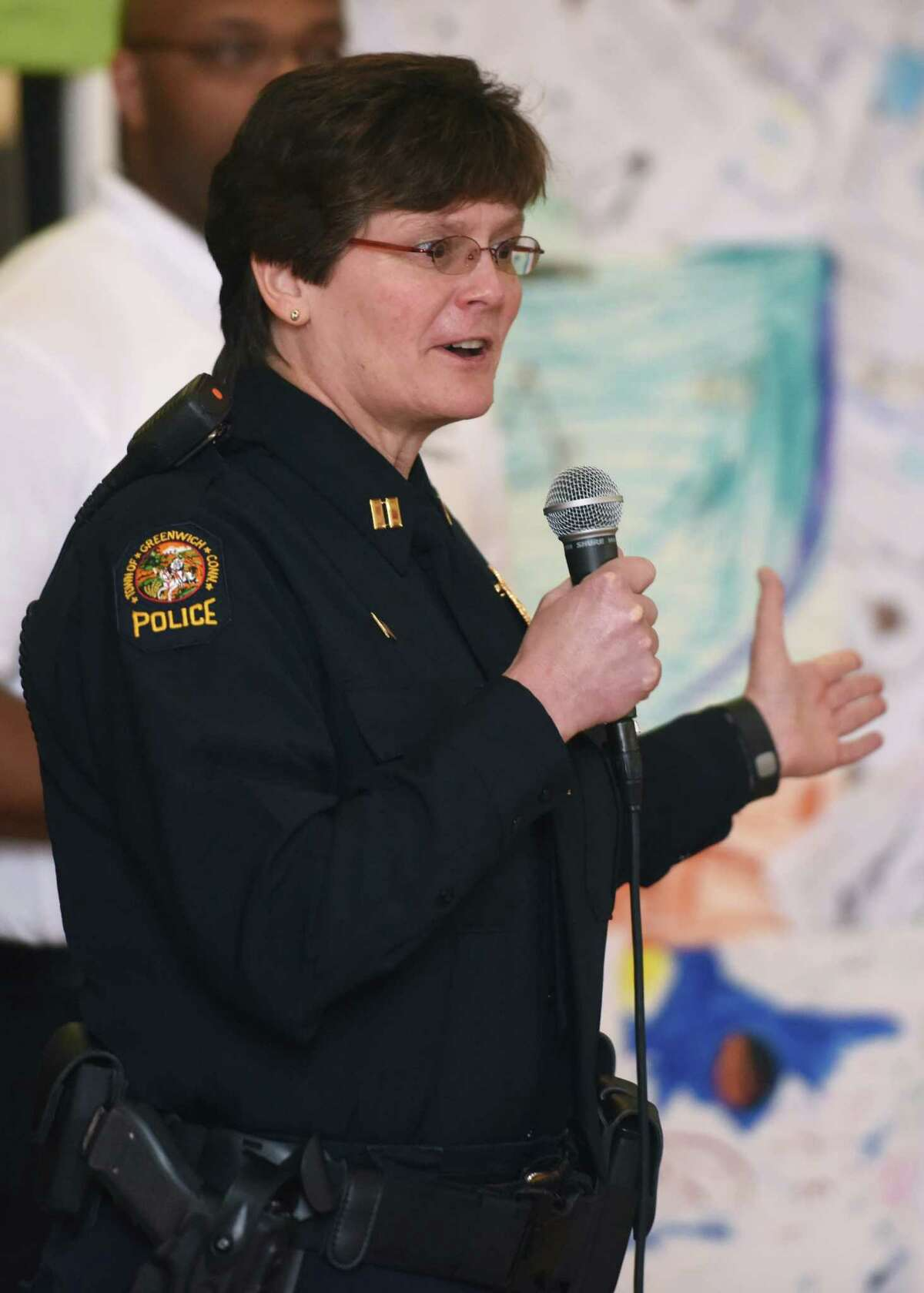 Greenwich Police Capt. Pamela Gustovich speaks on the last day of ZAC Camp at the Boys and Girls Club in Greenwich, Conn. Thursday, April 16, 2015.