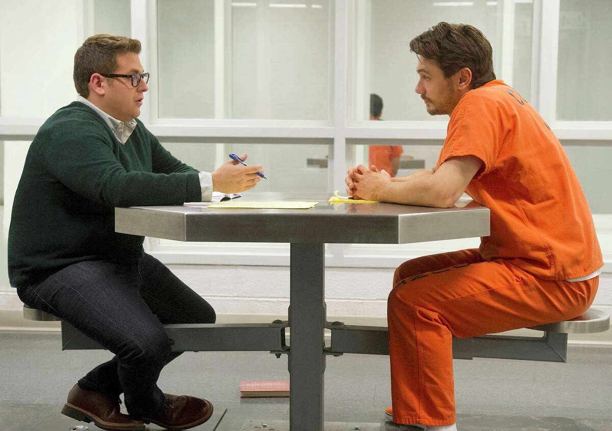 """(L-r) Jonah Hill as Mike Finkel and James Franco as Christian Longo in the true-life drama ?""""True Story.?"""" Illustrates FILM-TRUESTORY-ADV17 (category e), by Ann Hornaday © 2015, The Washington Post. Moved Wednesday, April 15, 2015. (MUST CREDIT: Barry Wetcher/Fox Searchlight.)"""