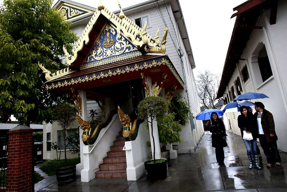 Berkeley is where diversity thrives. On Sunday mornings, Russell St. turns into a slice of Thailand as the Wat Mongkolratanaram Buddhist temple opens its doors to the public for a delicious brunch served by monks. Only in Berkeley. Photo: Brant Ward, The Chronicle