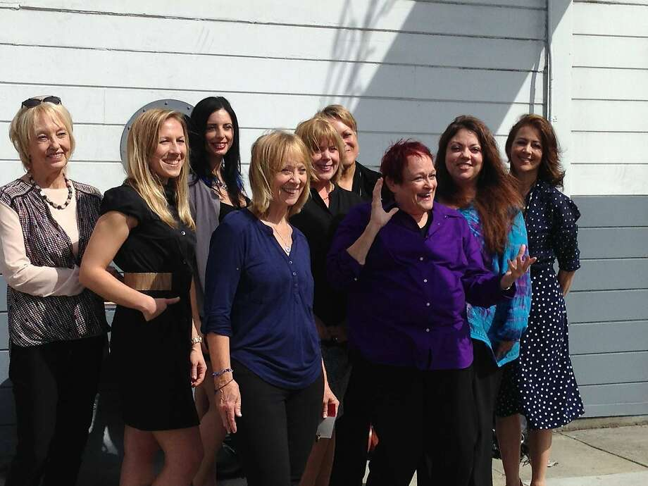 """Broads in Broadcasting"" luncheon participants Dusti Rhodes (left), Kate Scott, Nikki Blakk, Trish Bell, Sherry Brown, Maria Lopez, Marilyn Pittman, Lisa St. Regis and Celeste Perry. Photo: John Evans"