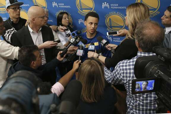 Stephen Curry is interviewed as the Golden State Warriors NBA basketball team holds a media availability at their practice facility in Oakland, Calif., on Thurs. April 16, 2015, in preparation for the upcoming playoffs.