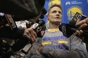 Head coach Steve Kerr meets with reporters as the Golden State Warriors NBA basketball team holds a media availability at their practice facility in Oakland, Calif., on Thurs. April 16, 2015, in preparation for the upcoming playoffs.