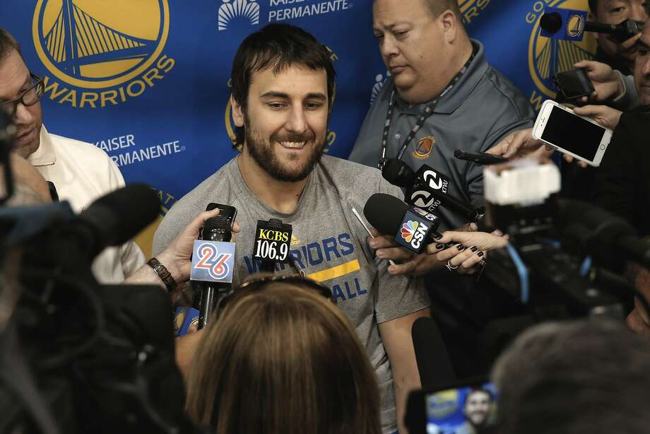 Andrew Bogut talks with reporters as the Golden State Warriors NBA basketball team holds a media availability at their practice facility in Oakland, Calif., on Thurs. April 16, 2015, in preparation for the upcoming playoffs. Photo: Michael Macor, The Chronicle