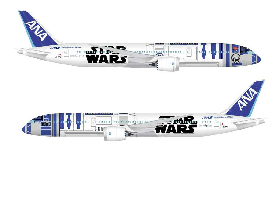 "Japan's ANA unveiled this ""Star Wars""-themed Boeing 787 Dreamliner on April 16, 2015 -- the day of the release of the second teaser trailer for ""Star Wars: The Force Awakens."" The new livery is patterned after the lovable droid R2-D2, and the plane will begin making international flights this fall. Photo: Courtesy Image/ANA"