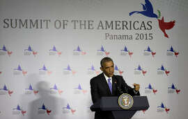 President Barack Obama fielded questions during an April 11 news conference at the Summit of the Americas in Panama.