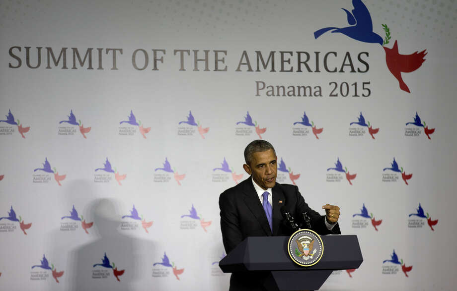 President Barack Obama fielded questions during an April 11 news conference at the Summit of the Americas in Panama. Photo: STEPHEN CROWLEY / New York Times / NYTNS