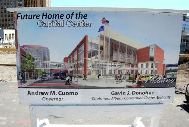 Sign at the construction site for the new Capital Center on Wednesday, April15, 2015 in Albany, N.Y. (Lori Van Buren / Times Union) Photo: Lori Van Buren