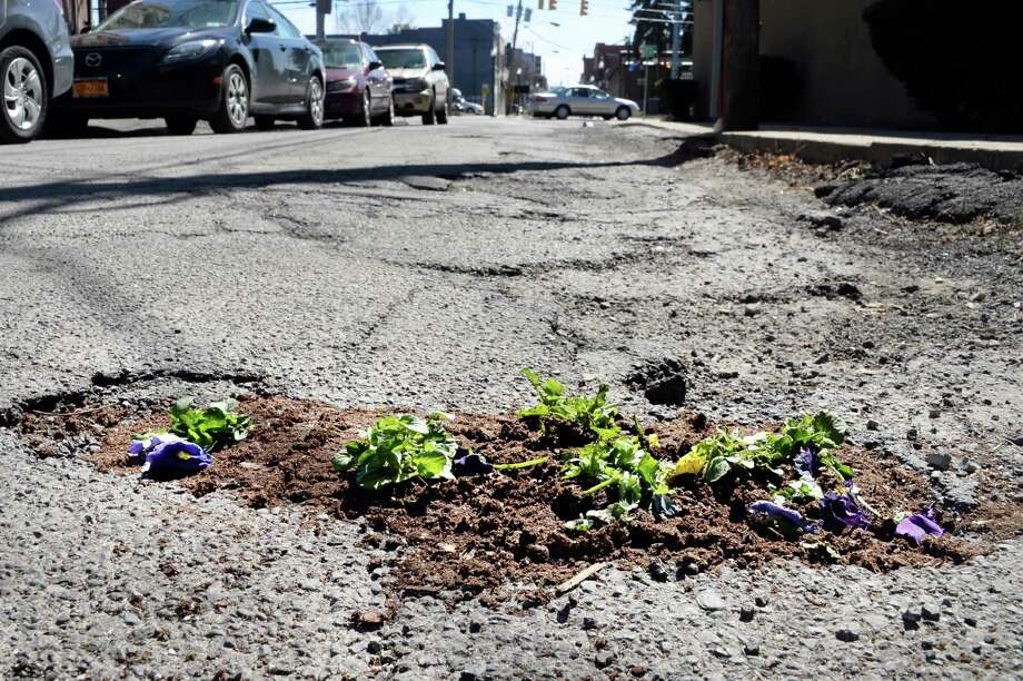 Pansies planted in a pole hole on North Center Street have fared poorly in traffic Wednesday April 15, 2015 in Schenectady, NY.  (John Carl D'Annibale / Times Union) Photo: John Carl D'Annibale