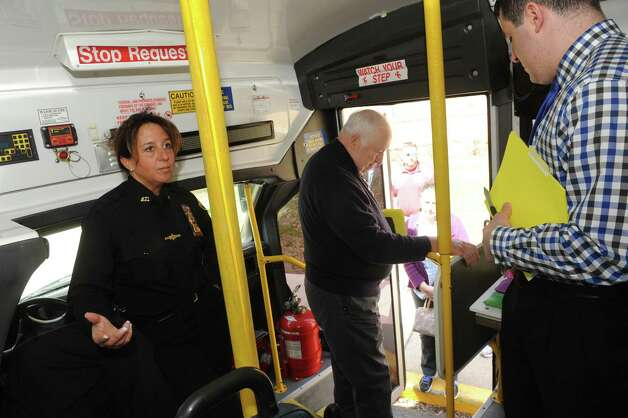 "Sheriff investigator and community liaison Tracy A. Mance gives a tour to local grade and high school teachers, administrators and nurses of Sheriff Craig Apple's ""heroin bus"" which he uses to teach students about heroin addiction at the University at Albany East Campus on Thursday April 16, 2015 in Rensselaer, N.Y. (Michael P. Farrell/Times Union) Photo: Michael P. Farrell / 00031450A"