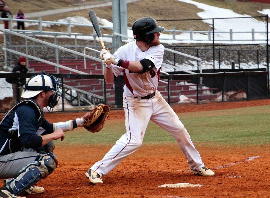 Albany Academy graduate Justin Brock of the Franklin Pierce baseball team. (Franklin Pierce Athletics/Marisa Ketterman)