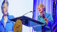 Mayor Annise Parker gives her final State of the City speech at a Greater Houston Partnership luncheon.