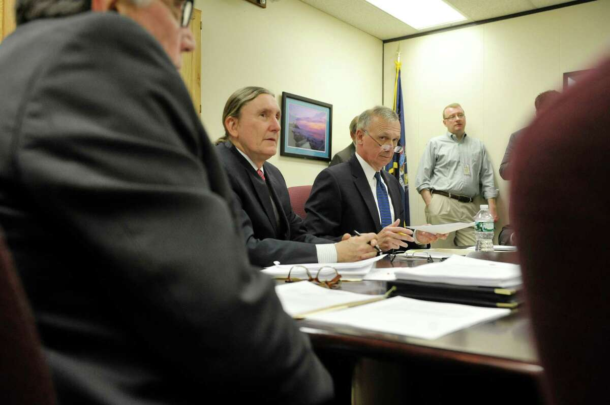 State Board of Elections, Democrat co-chair, Douglas Kellner, left, and GOP co-chair Peter Kosinski, right, take part in a board meeting with commissioners and staff on Thursday, April 16, 2015, in Albany, N.Y. (Paul Buckowski / Times Union)