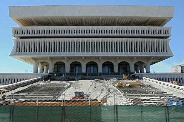 Construction continues on the steps of the New York State Museum at the Empire State Plaza on Wednesday, April15, 2015 in Albany, N.Y. (Lori Van Buren / Times Union) Photo: Lori Van Buren / 00031459A
