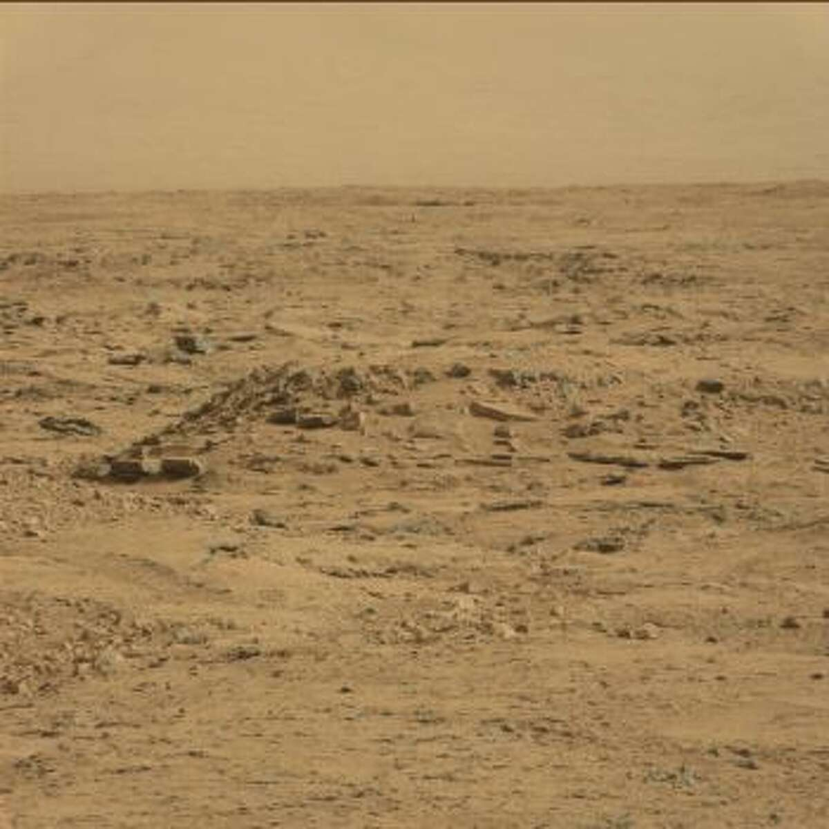 Can you see it? An online group has purportedly spotted a coffin on Mars, seen in this October 2012 image from the Mars rover Curiosity.