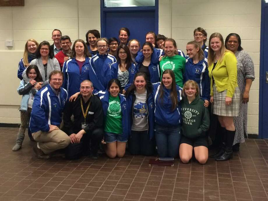 The Albany Marching Band is congratulated at the April 16 Board of Educaiton meeting for its trip to Dublin, Ireland. (Brittany Horn / Times Union)
