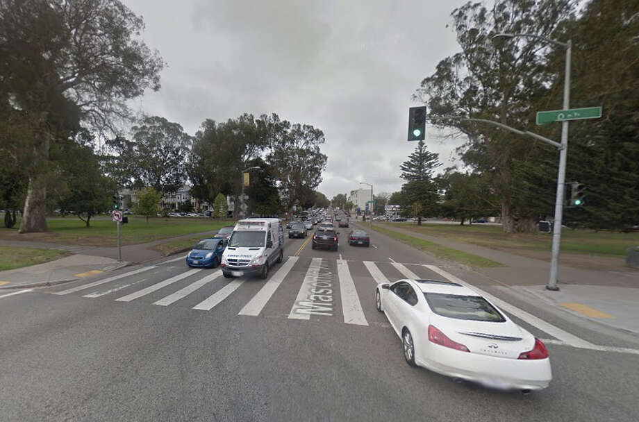 A pedestrian was hit by a car crossing Masonic at Oak Street in San Francisco. Photo: Google Maps