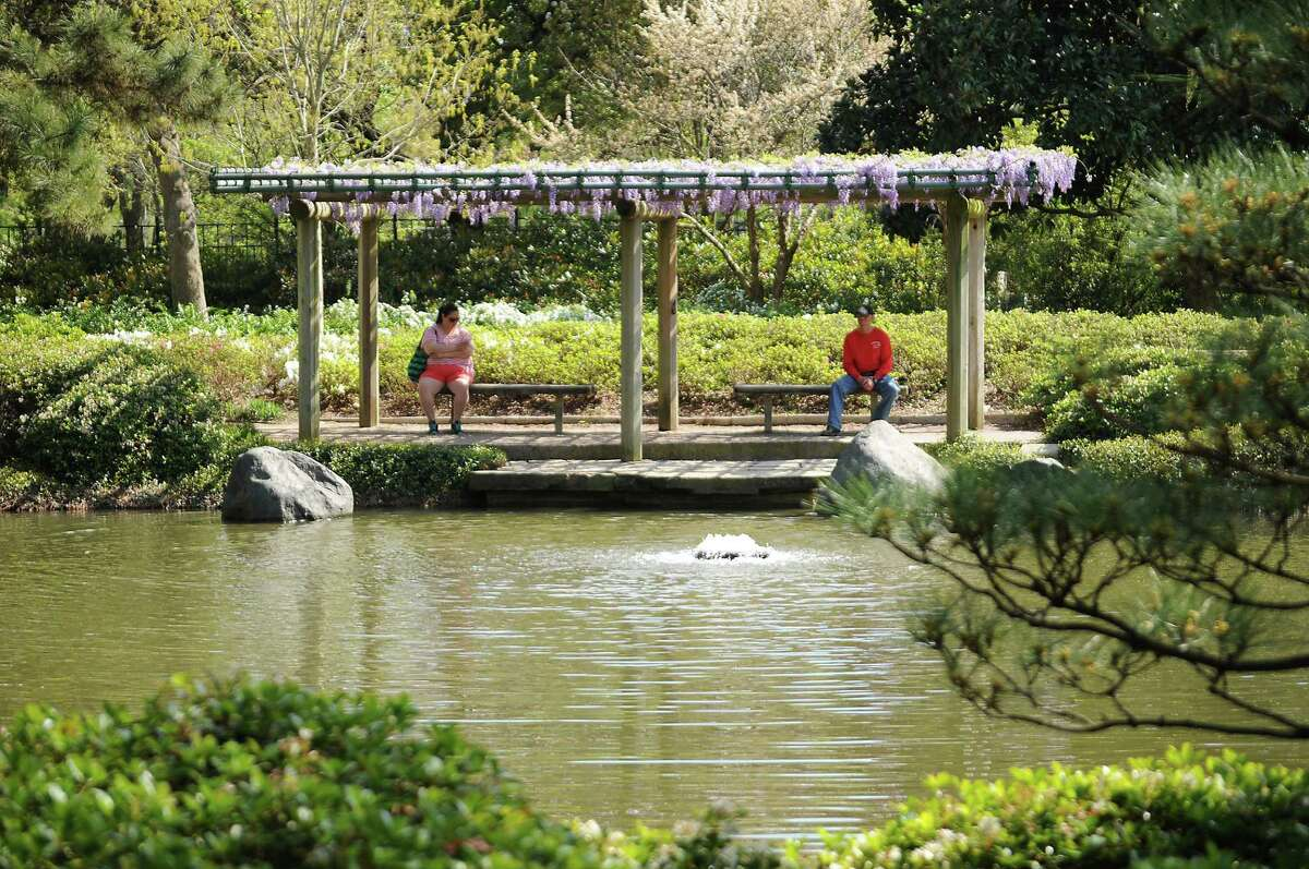 A shady spot to sit at the Japanese Garden in Hermann Park. (Dave Rossman photo)