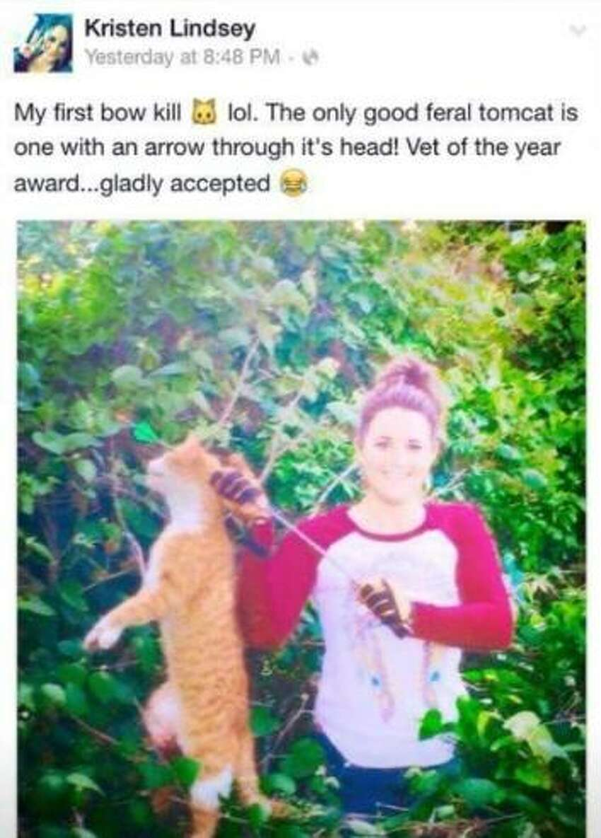 Austin County veterinarian Dr. Kristen Lindsey has reportedly been fired from the animal clinic at which she works after allegedly posting this photo to her Facebook page of a dead cat she reportedly shot with an arrow.