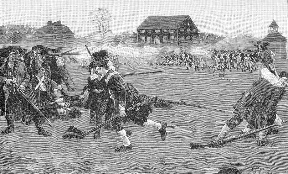 An artist's depiction of Patriot Day, when American militiamen first opened fire on British soldiers on April 19, 1775. A memo allegedly sent to Coast Guard personnel warned of possible extremist attacks on military and law enforcement to commemorate this day. See some of the worst tragedies to strike America in the week between April 14-20 ...