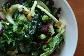 Kale salad made by Melissa Perello, the chef owner of S.F. restaurants Frances and Octavia, Monday, March 16, 2015, in Burlingame, Calif.