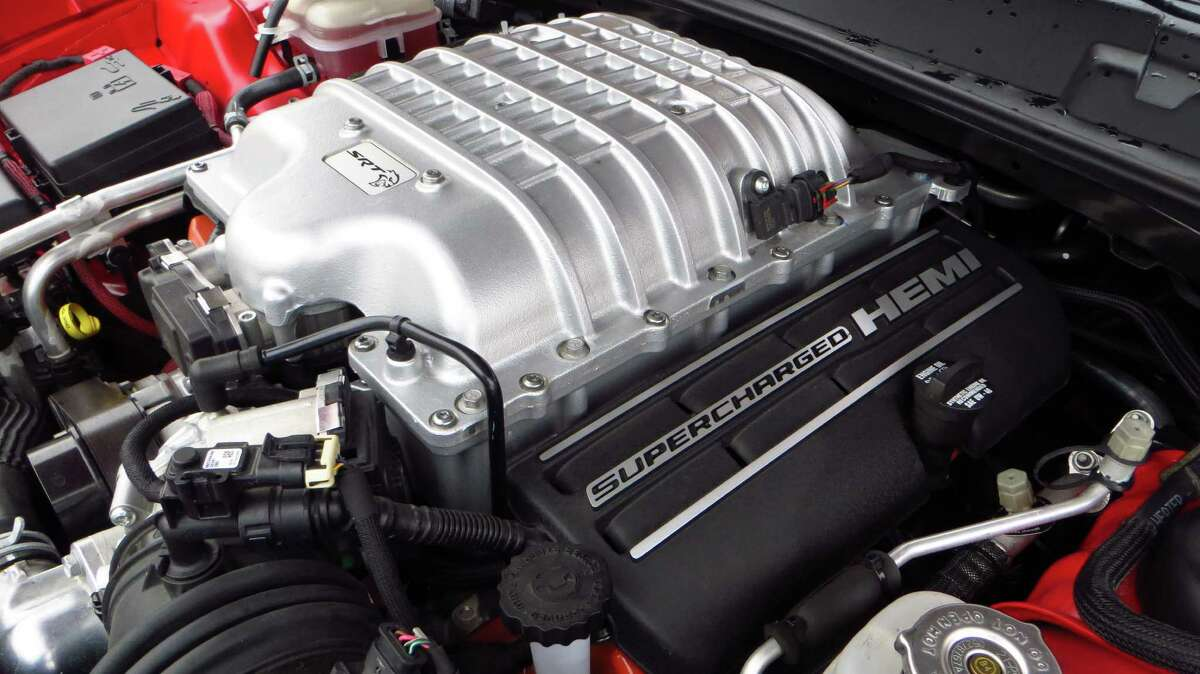 The heart of the Hellcat is its supercharged 6.2-liter Hemi V8. Air is fed to the supercharger via the